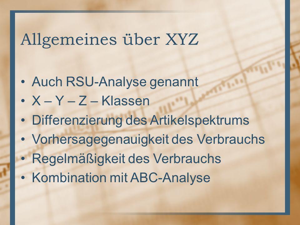 Allgemeines über XYZ Auch RSU-Analyse genannt X – Y – Z – Klassen Differenzierung des Artikelspektrums Vorhersagegenauigkeit des Verbrauchs Regelmäßig