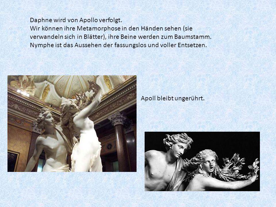 Daphne wird von Apollo verfolgt. Wir können ihre Metamorphose in den Händen sehen (sie verwandeln sich in Blätter), ihre Beine werden zum Baumstamm. N