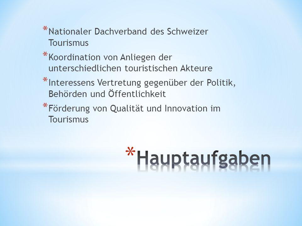 * Nationaler Dachverband des Schweizer Tourismus * Koordination von Anliegen der unterschiedlichen touristischen Akteure * Interessens Vertretung gegenüber der Politik, Behörden und Öffentlichkeit * Förderung von Qualität und Innovation im Tourismus