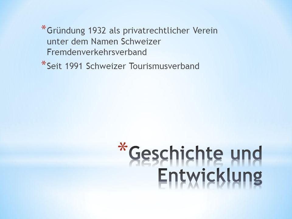* Gründung 1932 als privatrechtlicher Verein unter dem Namen Schweizer Fremdenverkehrsverband * Seit 1991 Schweizer Tourismusverband