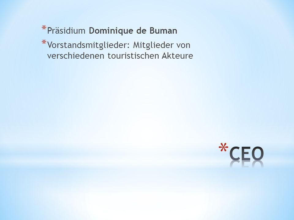 * Präsidium Dominique de Buman * Vorstandsmitglieder: Mitglieder von verschiedenen touristischen Akteure
