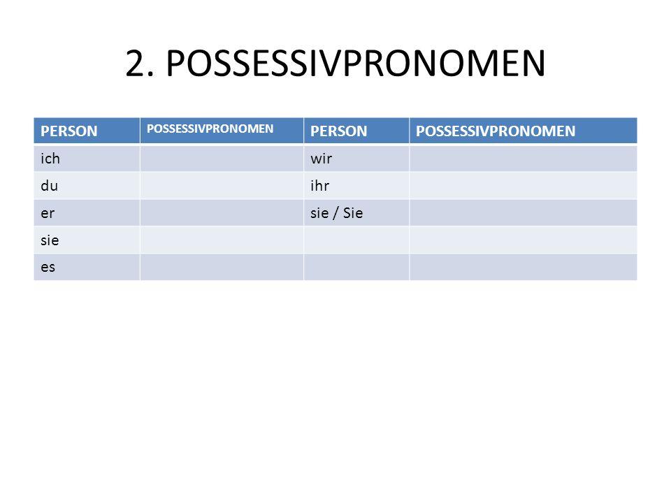 2. POSSESSIVPRONOMEN PERSON POSSESSIVPRONOMEN PERSONPOSSESSIVPRONOMEN ichwir duihr ersie / Sie sie es