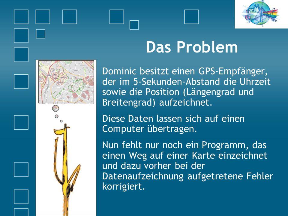 Das Problem Dominic besitzt einen GPS-Empfänger, der im 5-Sekunden-Abstand die Uhrzeit sowie die Position (Längengrad und Breitengrad) aufzeichnet.
