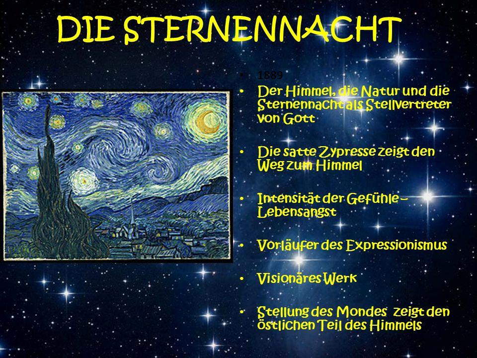 DIE STERNENNACHT 1889 Der Himmel, die Natur und die Sternennacht als Stellvertreter von Gott Die satte Zypresse zeigt den Weg zum Himmel Intensität de
