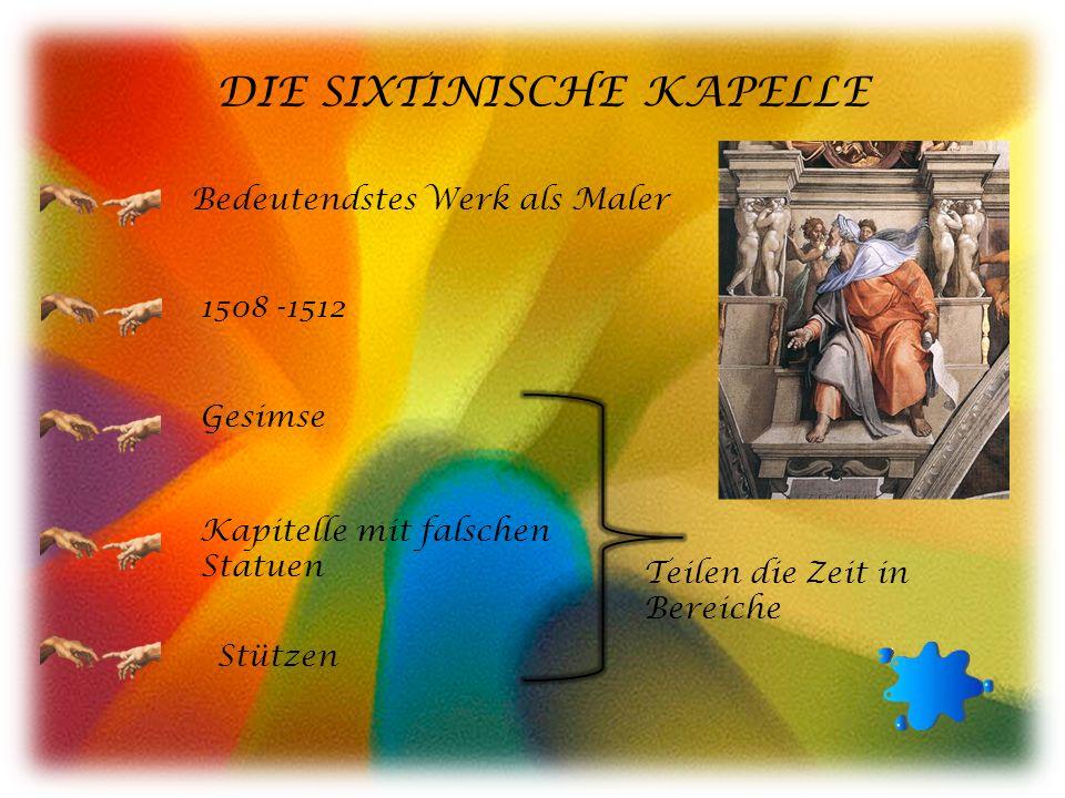 DIE SIXTINISCHE KAPELLE Bedeutendstes Werk als Maler 1508 -1512 Gesimse Kapitelle mit falschen Statuen Stützen Teilen die Zeit in Bereiche
