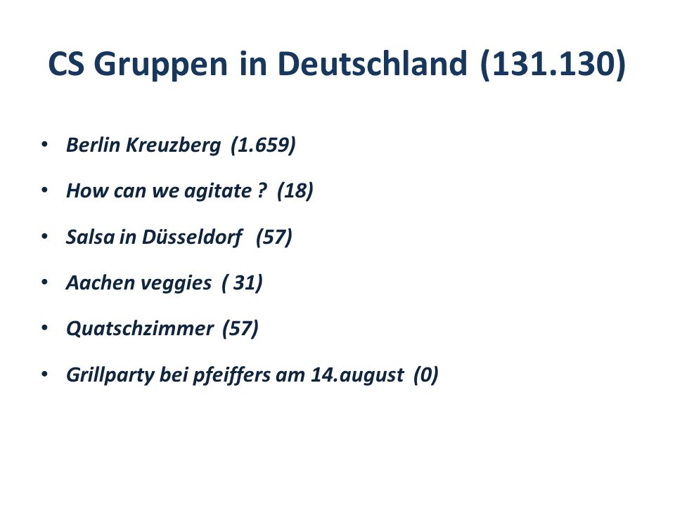 CS Gruppen in Deutschland (131.130) Berlin Kreuzberg (1.659) How can we agitate ? (18) Salsa in Düsseldorf (57) Aachen veggies ( 31) Quatschzimmer (57