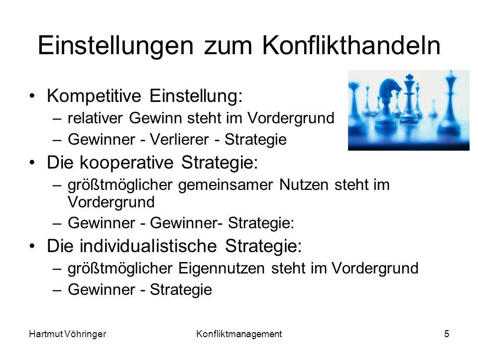 Hartmut VöhringerKonfliktmanagement5 Einstellungen zum Konflikthandeln Kompetitive Einstellung: –relativer Gewinn steht im Vordergrund –Gewinner - Ver