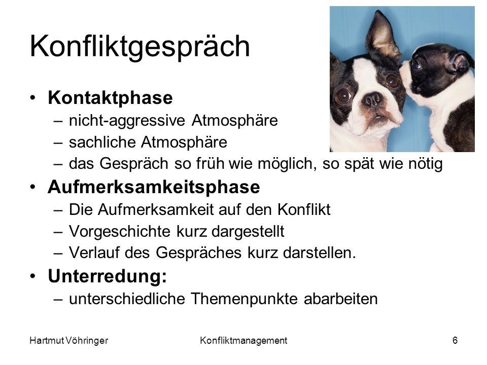Hartmut VöhringerKonfliktmanagement6 Konfliktgespräch Kontaktphase –nicht-aggressive Atmosphäre –sachliche Atmosphäre –das Gespräch so früh wie möglic