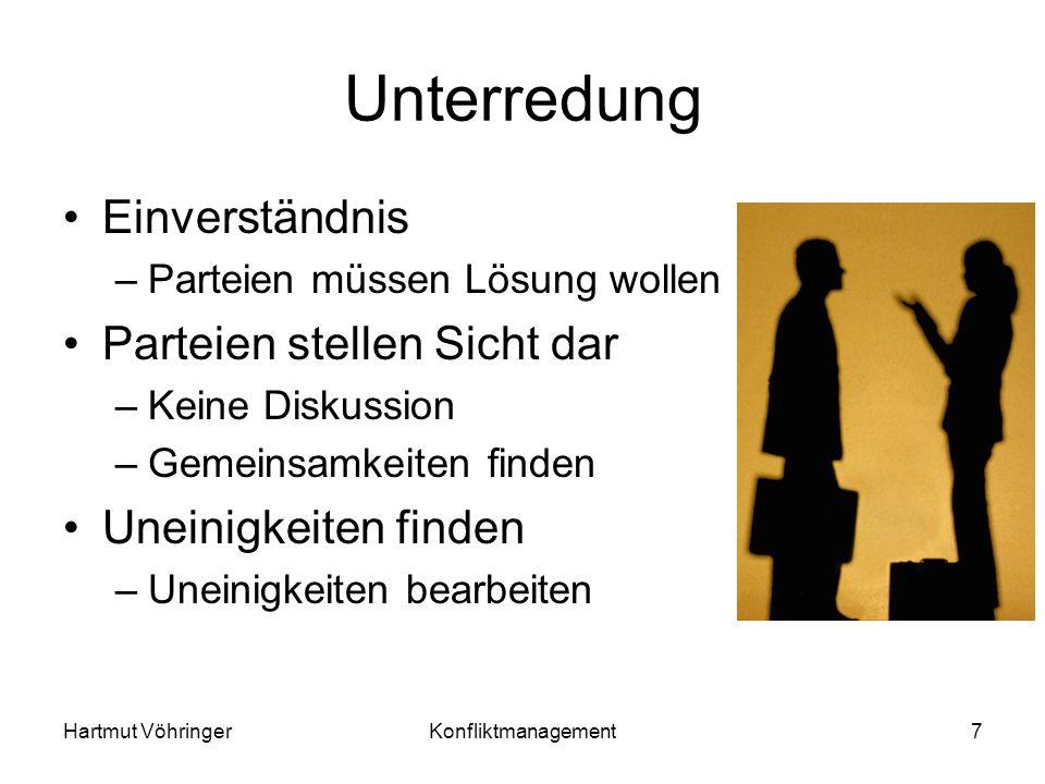 Hartmut VöhringerKonfliktmanagement7 Unterredung Einverständnis –Parteien müssen Lösung wollen Parteien stellen Sicht dar –Keine Diskussion –Gemeinsam