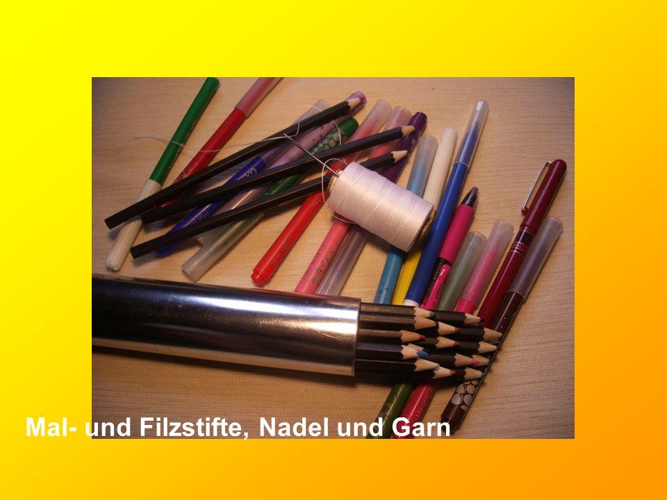 Mal- und Filzstifte, Nadel und Garn