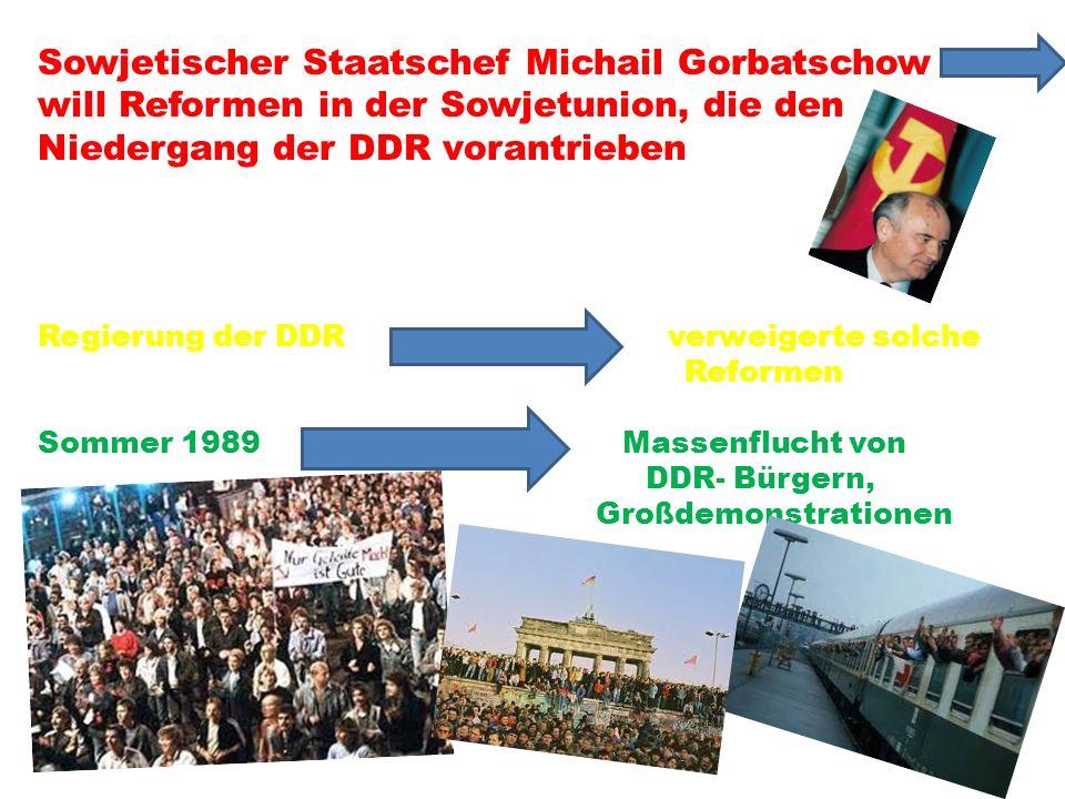 Sowjetischer Staatschef Michail Gorbatschow will Reformen in der Sowjetunion, die den Niedergang der DDR vorantrieben Regierung der DDR verweigerte so