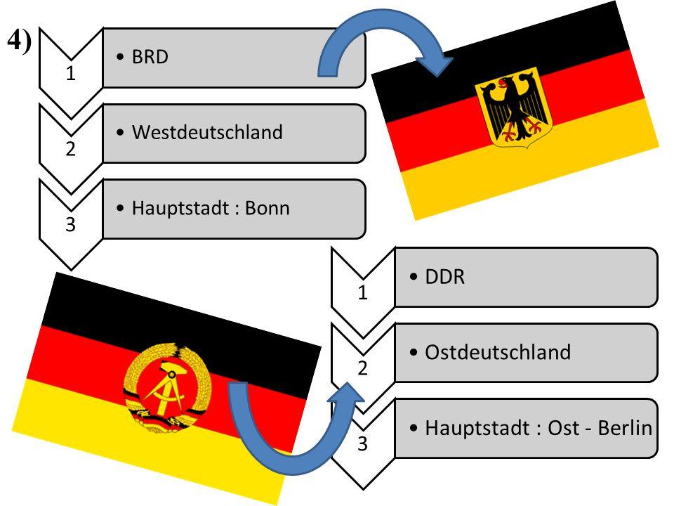 1 BRD 2 Westdeutschland 3 Hauptstadt : Bonn 1 DDR 2 Ostdeutschland 3 Hauptstadt : Ost - Berlin 4)