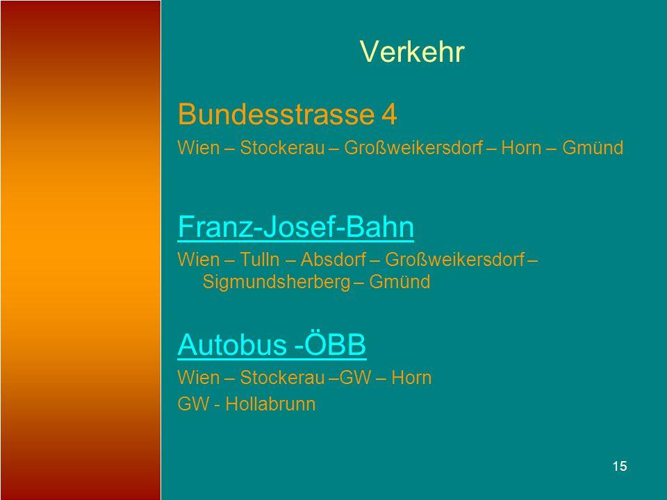 15 Verkehr Bundesstrasse 4 Wien – Stockerau – Großweikersdorf – Horn – Gmünd Franz-Josef-Bahn Wien – Tulln – Absdorf – Großweikersdorf – Sigmundsherbe
