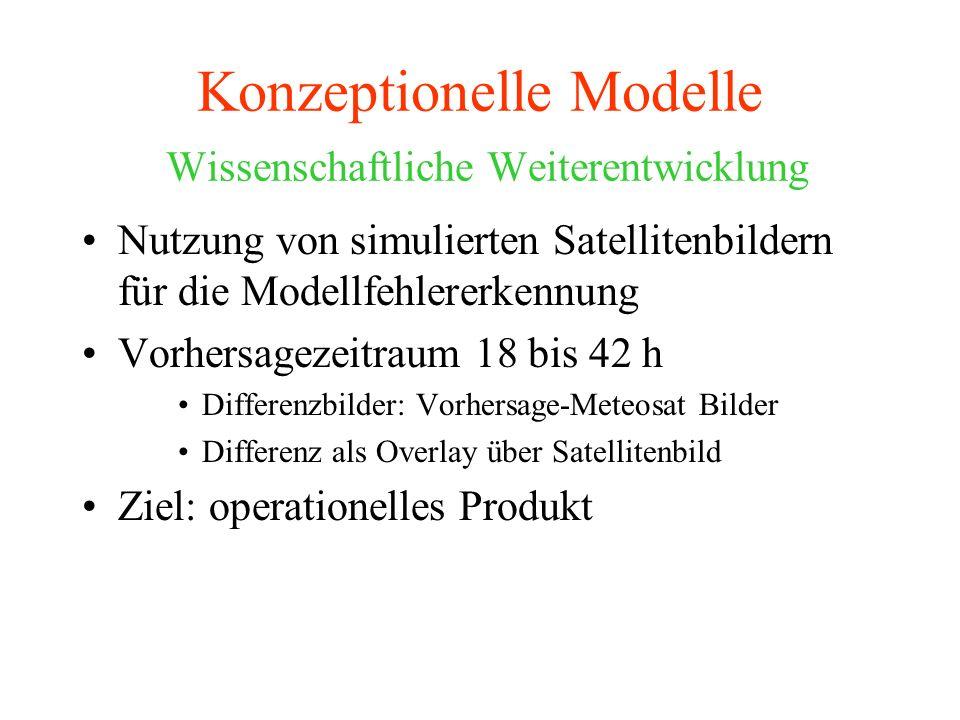 Konzeptionelle Modelle Wissenschaftliche Weiterentwicklung Nutzung von simulierten Satellitenbildern für die Modellfehlererkennung Vorhersagezeitraum 18 bis 42 h Differenzbilder: Vorhersage-Meteosat Bilder Differenz als Overlay über Satellitenbild Ziel: operationelles Produkt