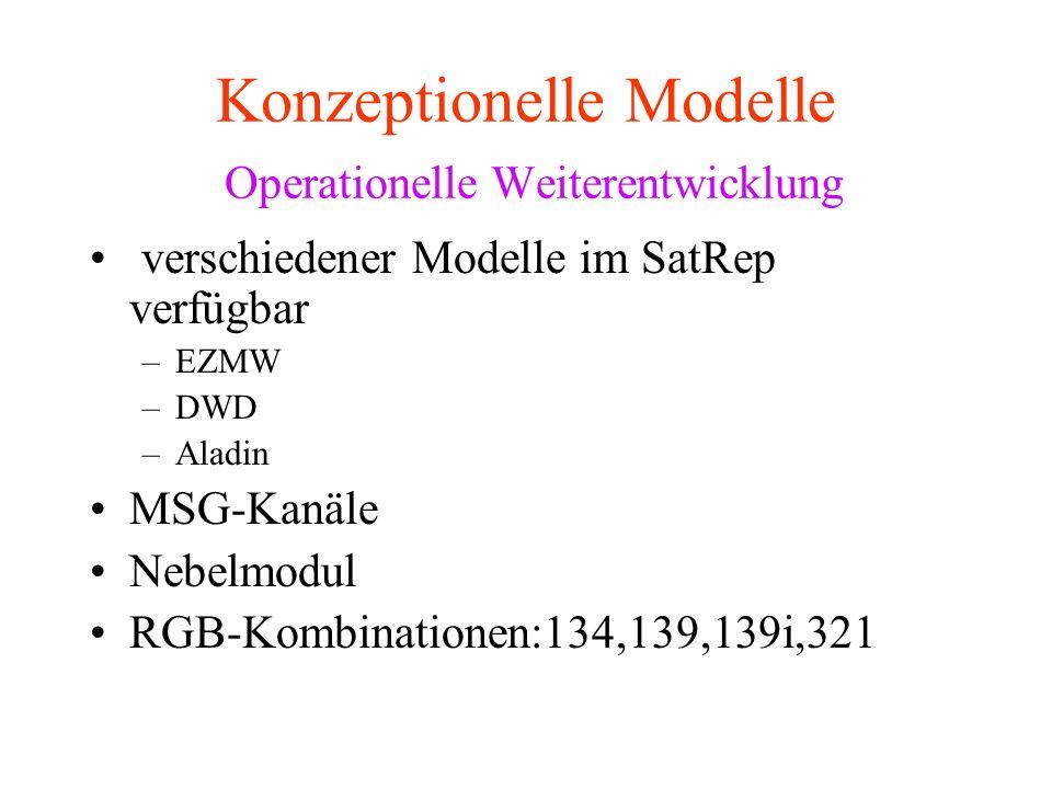 Konzeptionelle Modelle Operationelle Weiterentwicklung verschiedener Modelle im SatRep verfügbar –EZMW –DWD –Aladin MSG-Kanäle Nebelmodul RGB-Kombinationen:134,139,139i,321