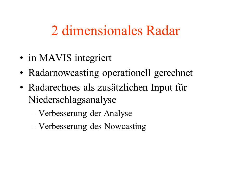 2 dimensionales Radar in MAVIS integriert Radarnowcasting operationell gerechnet Radarechoes als zusätzlichen Input für Niederschlagsanalyse –Verbesserung der Analyse –Verbesserung des Nowcasting