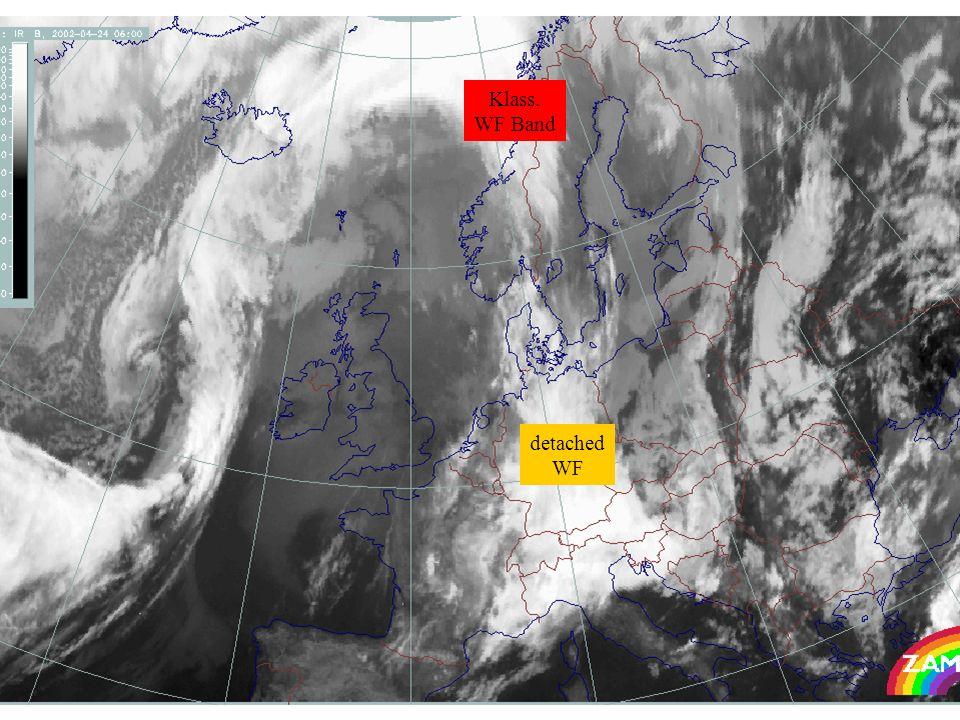 Differenzen im WV Bild- Differenzen in NWP Parametern: Äquivalenter Feuchteindex 2004-03-23 06 UTC