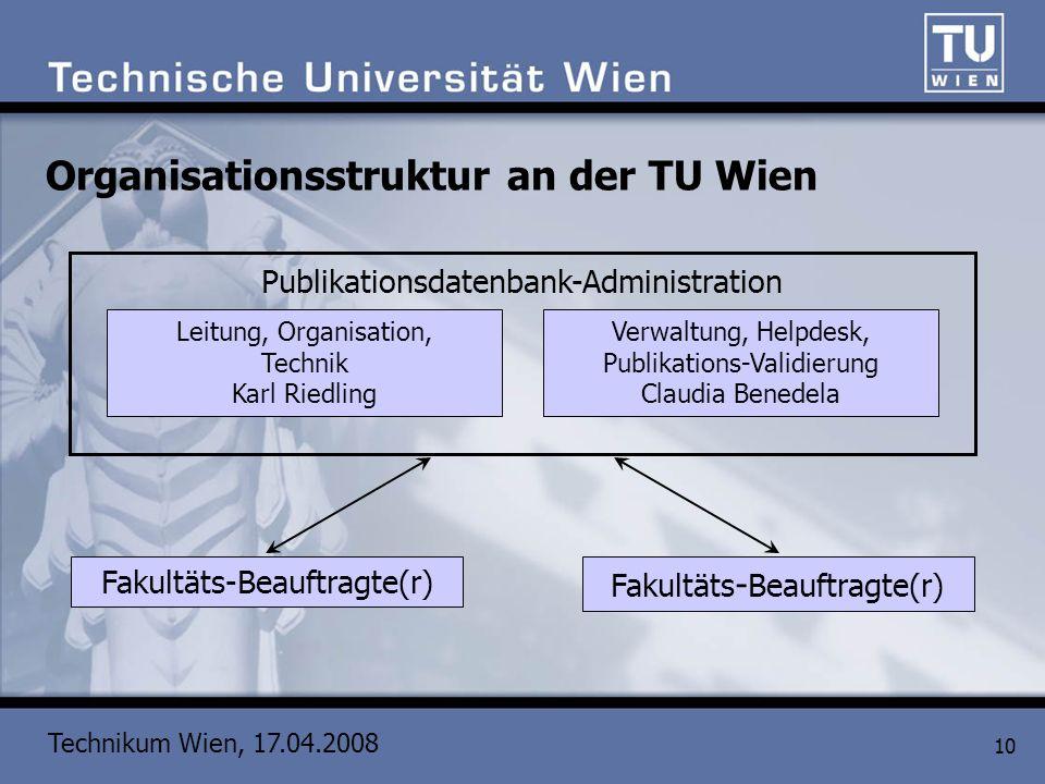 Technikum Wien, 17.04.2008 10 Organisationsstruktur an der TU Wien Fakultäts-Beauftragte(r) Publikationsdatenbank-Administration Leitung, Organisation
