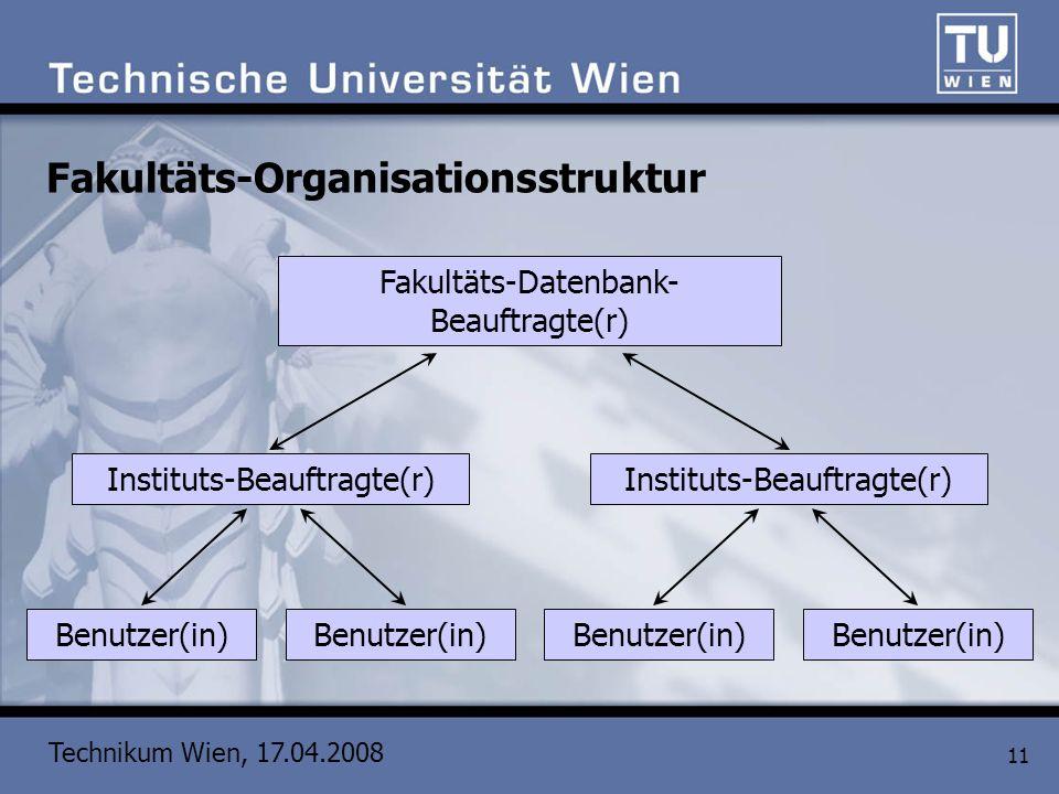 Technikum Wien, 17.04.2008 11 Fakultäts-Organisationsstruktur Fakultäts-Datenbank- Beauftragte(r) Instituts-Beauftragte(r) Benutzer(in)
