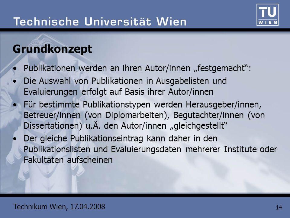 Technikum Wien, 17.04.2008 14 Grundkonzept Publikationen werden an ihren Autor/innen festgemacht: Die Auswahl von Publikationen in Ausgabelisten und E