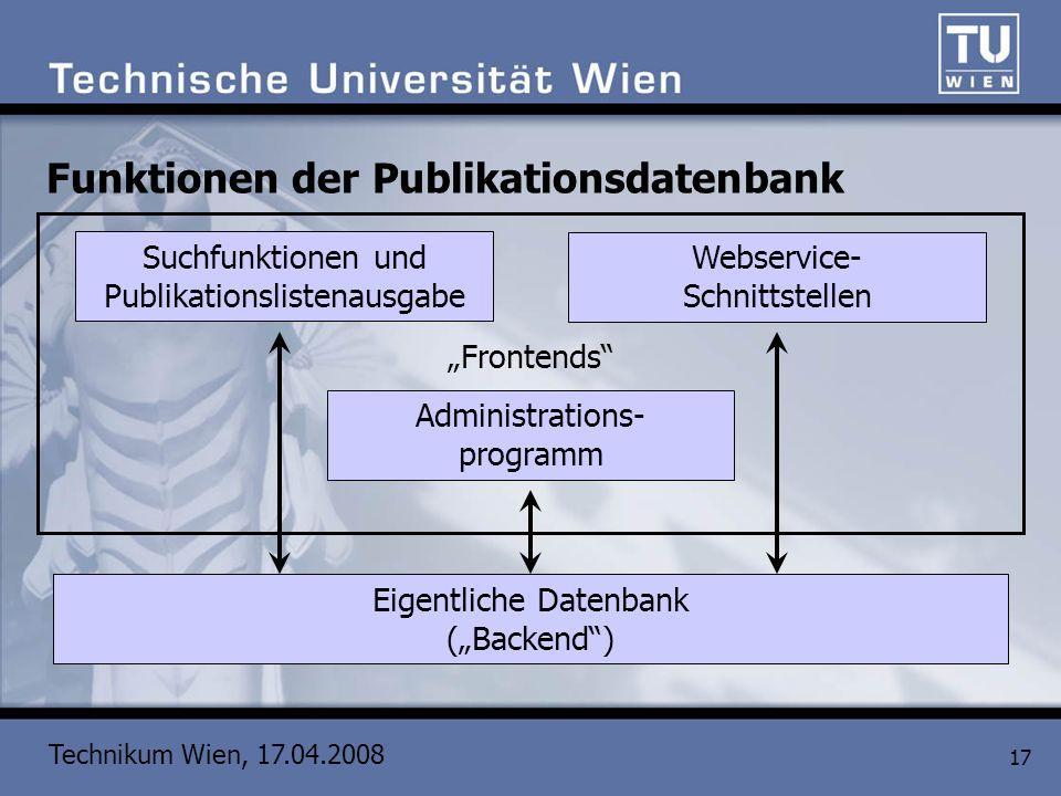 Technikum Wien, 17.04.2008 17 Funktionen der Publikationsdatenbank Eigentliche Datenbank (Backend) Administrations- programm Suchfunktionen und Publik
