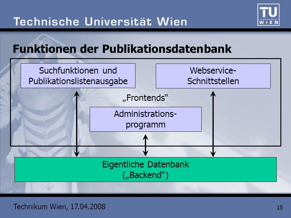 Technikum Wien, 17.04.2008 18 Funktionen der Publikationsdatenbank Eigentliche Datenbank (Backend) Administrations- programm Suchfunktionen und Publik