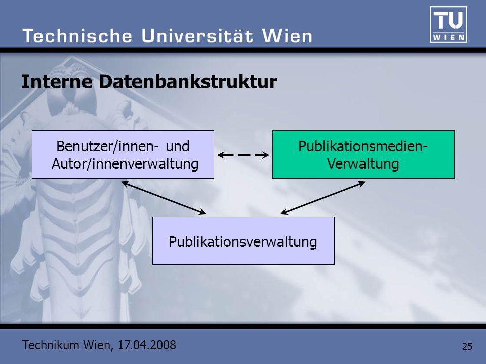 Technikum Wien, 17.04.2008 25 Interne Datenbankstruktur Publikationsverwaltung Benutzer/innen- und Autor/innenverwaltung Publikationsmedien- Verwaltun