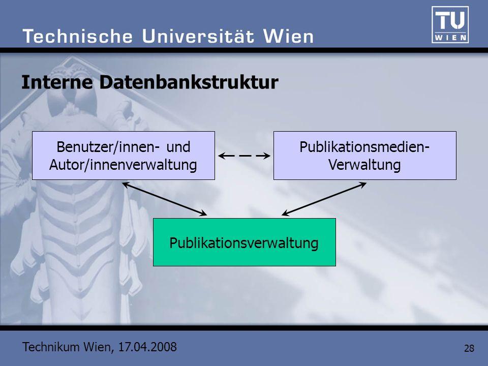 Technikum Wien, 17.04.2008 28 Interne Datenbankstruktur Publikationsverwaltung Benutzer/innen- und Autor/innenverwaltung Publikationsmedien- Verwaltun