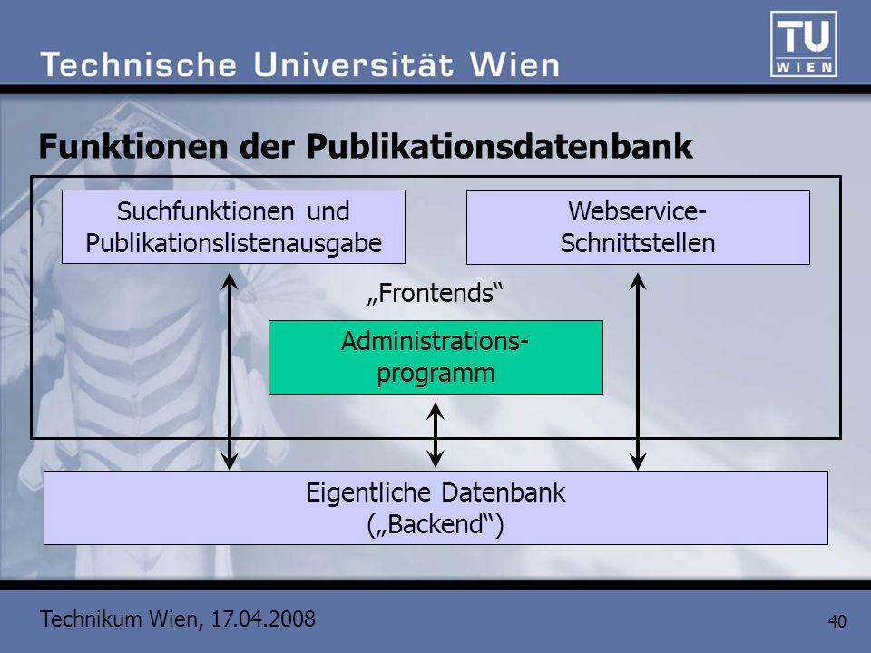 Technikum Wien, 17.04.2008 40 Funktionen der Publikationsdatenbank Eigentliche Datenbank (Backend) Administrations- programm Suchfunktionen und Publik