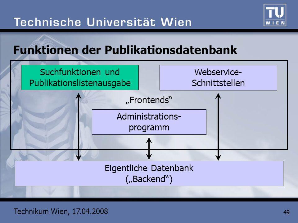 Technikum Wien, 17.04.2008 49 Funktionen der Publikationsdatenbank Eigentliche Datenbank (Backend) Administrations- programm Suchfunktionen und Publik