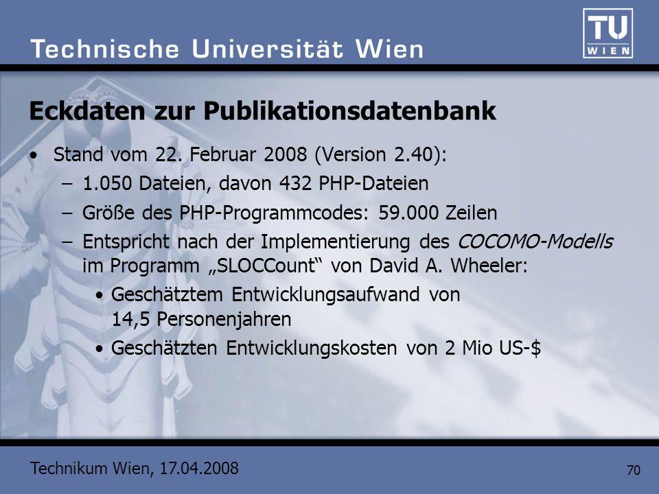 Technikum Wien, 17.04.2008 70 Eckdaten zur Publikationsdatenbank Stand vom 22. Februar 2008 (Version 2.40): –1.050 Dateien, davon 432 PHP-Dateien –Grö