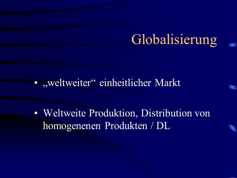 Globalisierung weltweiter einheitlicher Markt Weltweite Produktion, Distribution von homogenenen Produkten / DL