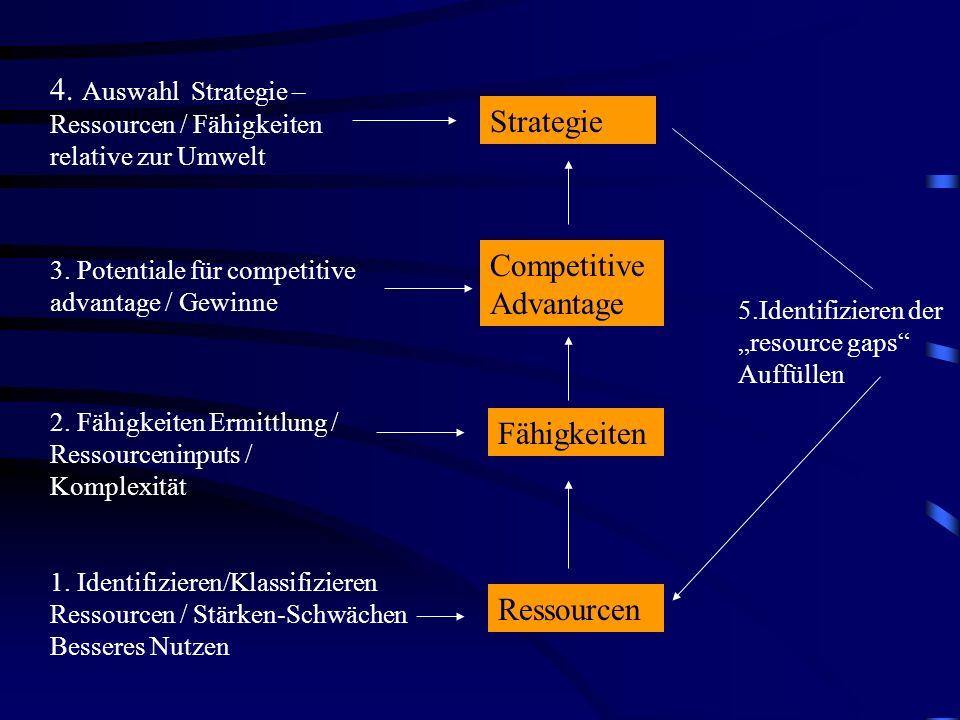 Greifbare (tangible) Physikaleische / Finanzielle Nicht-Greifbare (intangible) Technologie / Kultur / Reputation Menschen (human) Spezielles Wissen und Fachkenntnisse / Motivation / Kommunikatives u Geistiges Potential