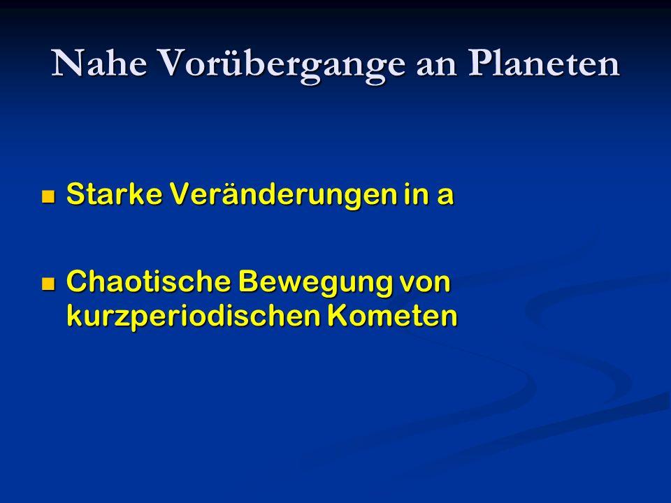 Nahe Vorübergange an Planeten Starke Veränderungen in a Starke Veränderungen in a Chaotische Bewegung von kurzperiodischen Kometen Chaotische Bewegung