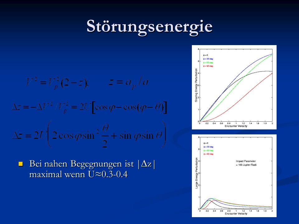 Störungsenergie Bei nahen Begegnungen ist | z| maximal wenn U0.3-0.4 Bei nahen Begegnungen ist | z| maximal wenn U0.3-0.4