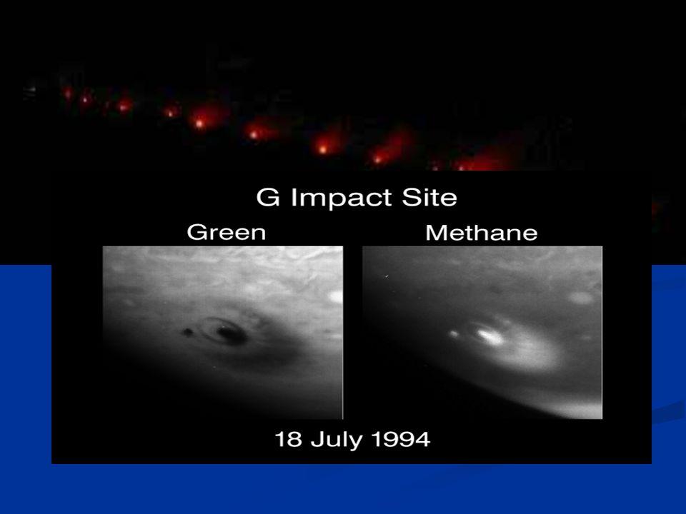 Der durch Jupiter zerissene Komet Shoemaker-Levy 9 20 Brocken von 2km Durchmesser Einschlag am Jupiter im Juli 1994 Mit 60 km/sec