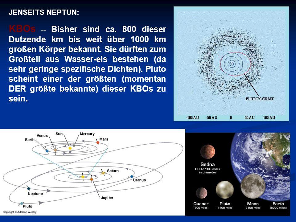JENSEITS NEPTUN: KBOs -- Bisher sind ca. 800 dieser Dutzende km bis weit über 1000 km großen Körper bekannt. Sie dürften zum Großteil aus Wasser-eis b