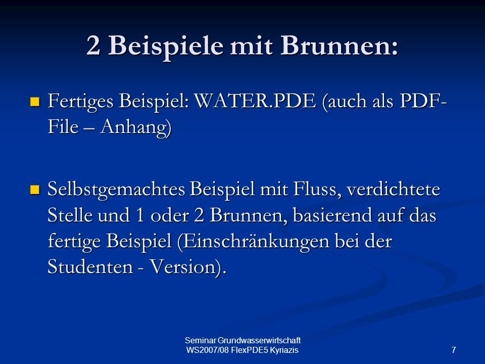 7 Seminar Grundwasserwirtschaft WS2007/08 FlexPDE5 Kyriazis 2 Beispiele mit Brunnen: Fertiges Beispiel: WATER.PDE (auch als PDF- File – Anhang) Fertig