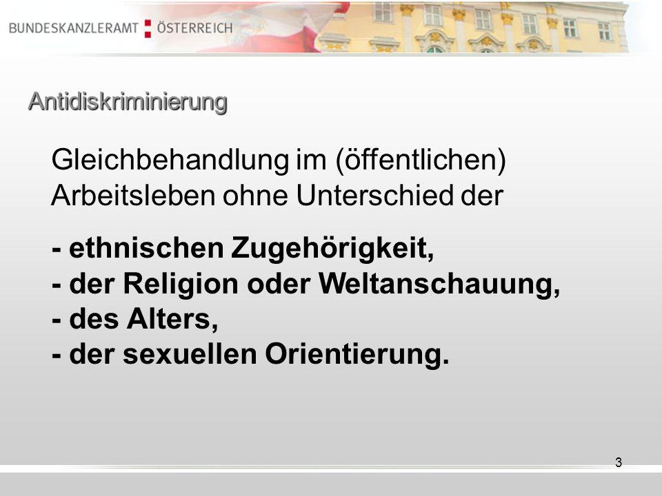 3 Antidiskriminierung Gleichbehandlung im (öffentlichen) Arbeitsleben ohne Unterschied der - ethnischen Zugehörigkeit, - der Religion oder Weltanschau