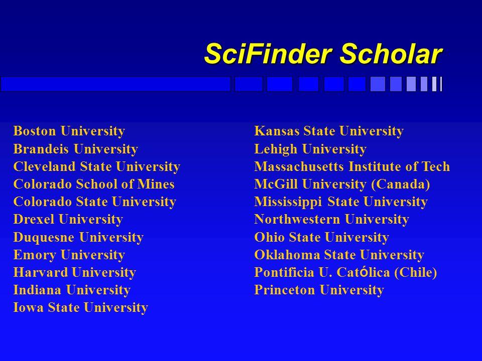 SciFinder Scholar Zugang F Universitätsweite Lizenz mit Einschränkung der gleichzeitigen Benutzer F Substruktursuche möglich F Vollzeitzugriff 24h mög