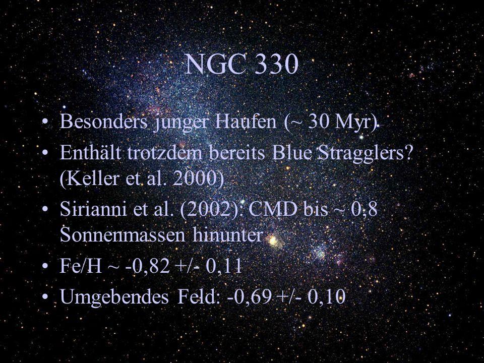 NGC 330 Wurde untersucht auf Entwicklung der IMF mit zunehmenden Abstand vom Zentrum => wird steiler Sterne mit mehr als 5 Sonnenmassen nehmen nach außen 5 mal so stark ab als Sterne mit ca.
