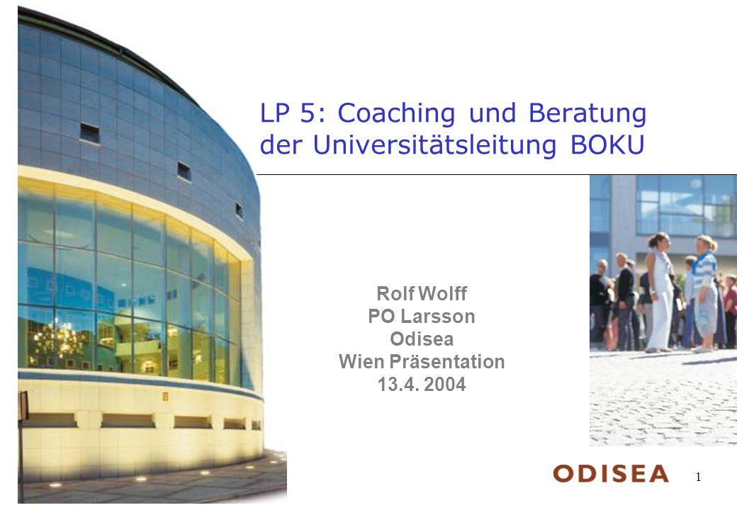 © Odisea AB, 2004 1 LP 5: Coaching und Beratung der Universitätsleitung BOKU Rolf Wolff PO Larsson Odisea Wien Präsentation 13.4.