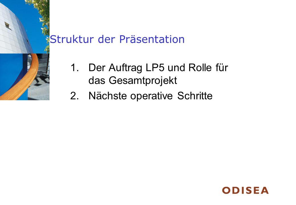 Struktur der Präsentation 1.Der Auftrag LP5 und Rolle für das Gesamtprojekt 2.Nächste operative Schritte