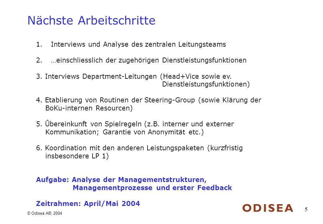 © Odisea AB, 2004 5 Nächste Arbeitschritte 1.Interviews und Analyse des zentralen Leitungsteams 2.…einschliesslich der zugehörigen Dienstleistungsfunktionen 3.