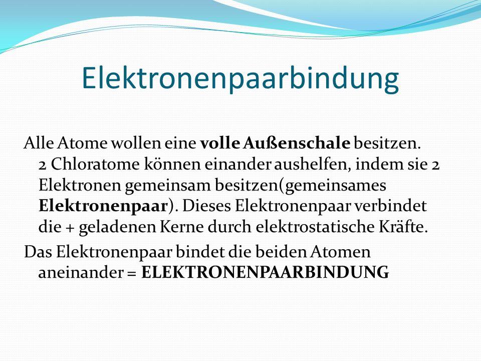 Elektronenpaarbindung Alle Atome wollen eine volle Außenschale besitzen. 2 Chloratome können einander aushelfen, indem sie 2 Elektronen gemeinsam besi