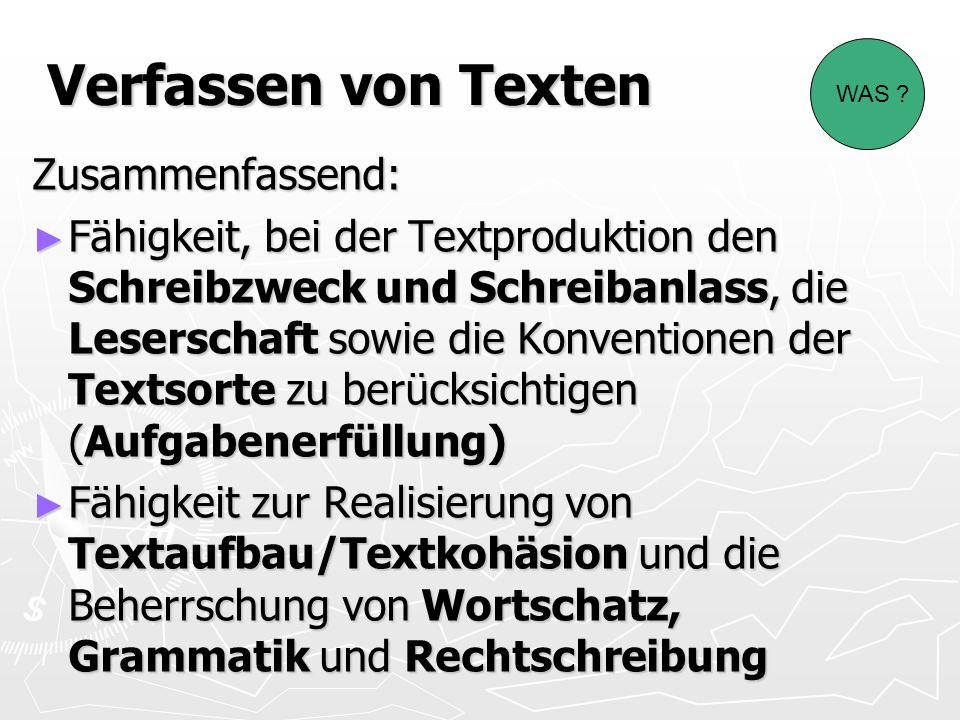 Verfassen von Texten Zusammenfassend: Fähigkeit, bei der Textproduktion den Schreibzweck und Schreibanlass, die Leserschaft sowie die Konventionen der Textsorte zu berücksichtigen (Aufgabenerfüllung) Fähigkeit, bei der Textproduktion den Schreibzweck und Schreibanlass, die Leserschaft sowie die Konventionen der Textsorte zu berücksichtigen (Aufgabenerfüllung) Fähigkeit zur Realisierung von Textaufbau/Textkohäsion und die Beherrschung von Wortschatz, Grammatik und Rechtschreibung Fähigkeit zur Realisierung von Textaufbau/Textkohäsion und die Beherrschung von Wortschatz, Grammatik und Rechtschreibung WAS ?