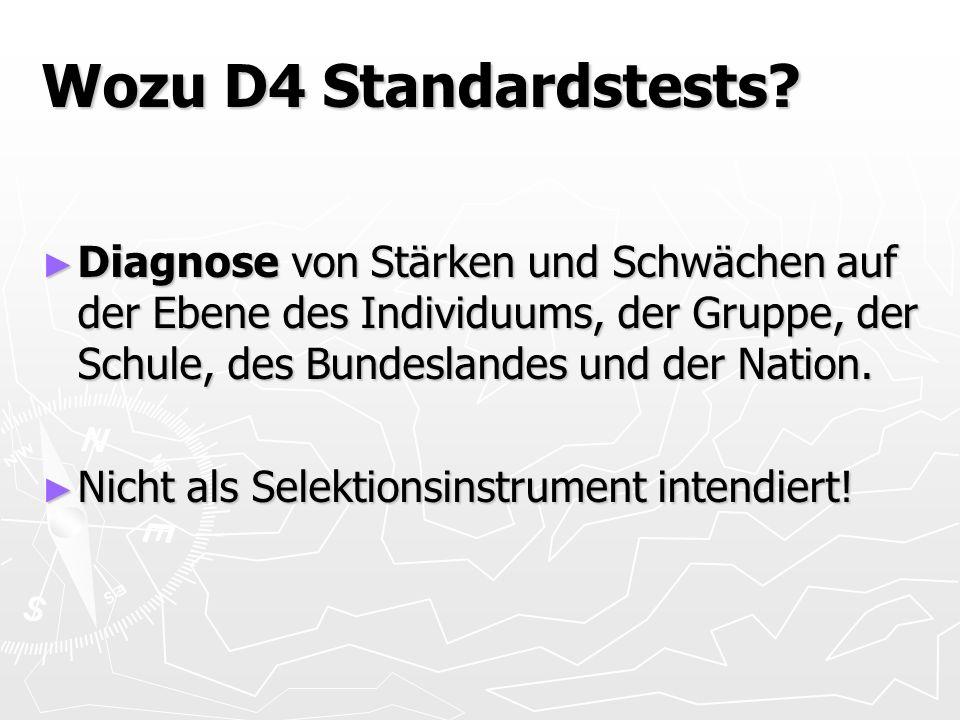 Wozu D4 Standardstests? Diagnose von Stärken und Schwächen auf der Ebene des Individuums, der Gruppe, der Schule, des Bundeslandes und der Nation. Dia