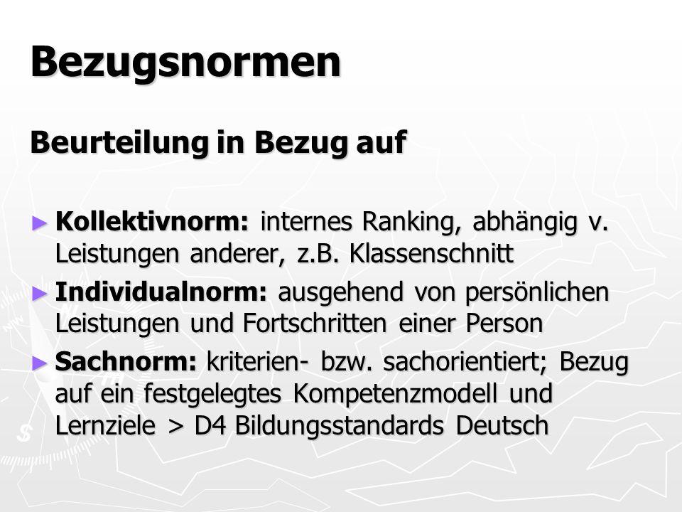 Bezugsnormen Beurteilung in Bezug auf Kollektivnorm: internes Ranking, abhängig v.