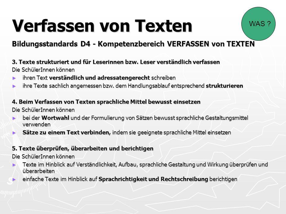 Verfassen von Texten Bildungsstandards D4 - Kompetenzbereich VERFASSEN von TEXTEN 3. Texte strukturiert und für Leserinnen bzw. Leser verständlich ver
