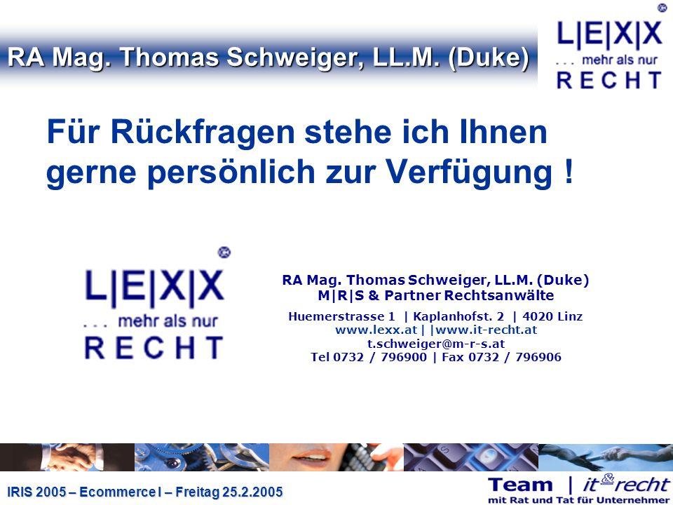 IRIS 2005 – Ecommerce I – Freitag 25.2.2005 RA Mag.